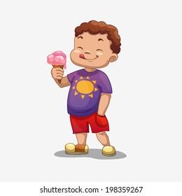 little boy with ice cream, vector