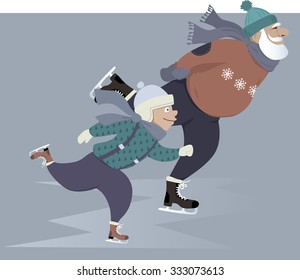 Little boy ice skating with his grandfather, EPS 8 vector illustration, no transparencies