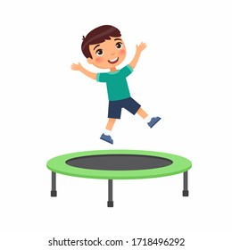 Little boy jumping on trampoline flat vector illustration. Happy sportive child having fun, playing. Preteen cheerful child enjoying game, childhood activity. Isolated cartoon character on white