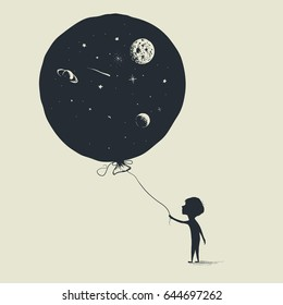 Little boy keeps a balloon with universe in him.Abstract vector illustration