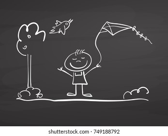Little boy with kite and bird sketch on chalkboard. Handdrawn vector sketch, clean outlines, vintage style blackboard.