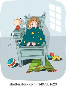 a little boy lying in bed and hiding behind a blanket scared of the dark and scary creatures hiding beneath his bed - hand drawn funny vector illustration