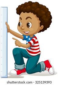 Little boy measuring with ruler illustration