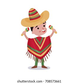 Little boy in Mexico country national clothes, kid wearing poncho and sombrero holding maracas colorful vector Illustration
