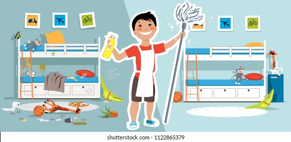 Little boy with a mop and cleaning tools in front of a children bedroom before and after cleaning, EPS vector illustration