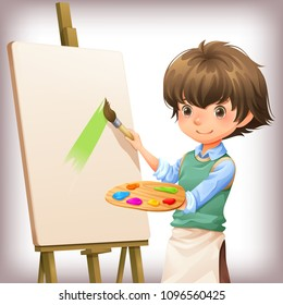 Little boy painting character design vector illustration