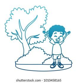 Little boy at park cartoon
