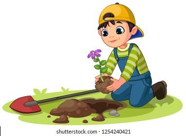 Little boy planting small flower plant in the garden vector illustration