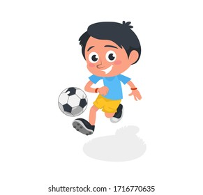 Little boy playing football and kicking ball vector illustration. Happy smiling child exercising in soccer cartoon design. Team game and footballer concept. Isolated on white