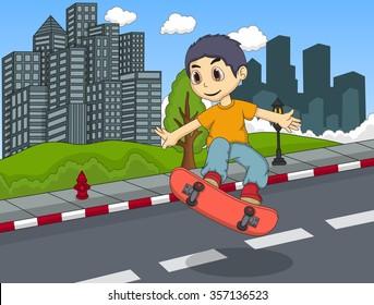 Little boy playing skateboard in the street cartoon vector illustration