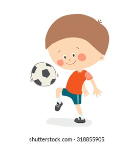 Little boy playing soccer. Child kicking football. Cute happy kid playing with a ball. Cartoon vector eps 10 illustration on white background.