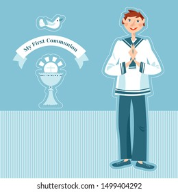 Little boy praying at the First Communion.  Greeting card My First Communion. Vector illustration