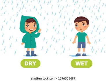 Little boy in a raincoat and without a raincoat in the rain. Illustration of opposites dry and wet. Card for teaching aid, for a foreign language learning. Vector illustration, cartoon style.