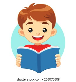 Little Boy Reading A Blue Book. A little cute boy reading a blue book with happy face. He like to read and study educational books.