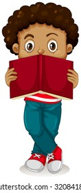 Little boy reading book illustration