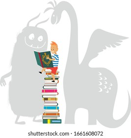 Little boy reading a book, imaginary monsters looking over his shoulder, EPS 8 vector illustration