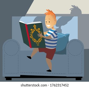 Little boy reading a book, light coming from it's page, EPS 8 vector illustration
