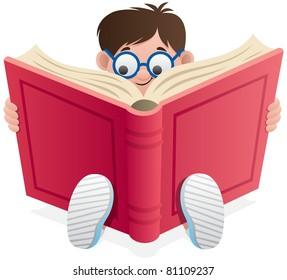 Little Boy reading book over white background.