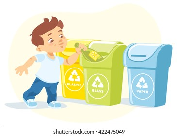 Little boy recycling garbage