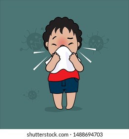 A little boy in a  red shirt is sneezing because of a cold, on a green background.