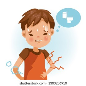 little boy in the red shirt with stomach ache, child holding his hands on his belly. Children with severe abdominal pain, dangerous signs. Cartoon vector illustration isolated on white.