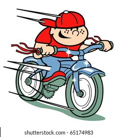 Little boy riding on a retro or vintage fifties style bicycle or children's bike.