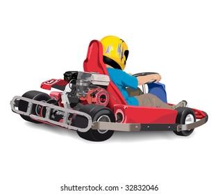 Little boy is riding red cart