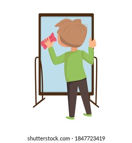 Little Boy Rubbing Glass Mirror with Sponge Vector Illustration