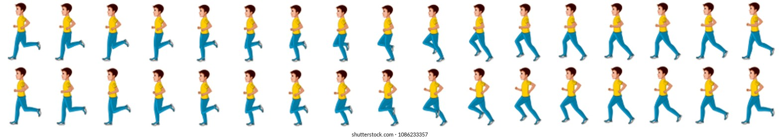 Little boy running animation sprite sheet
