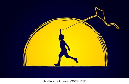 Little boy running with kite designed on moonlight graphic vector.