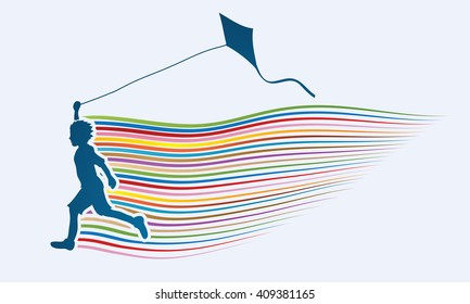 Little boy running with kite with line rainbow movement graphic vector.