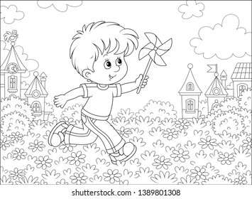 Little boy running and playing with his toy whirligig among flowers against a background of houses of a small town on a sunny summer day, vector illustration in a cartoon style