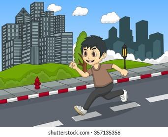 Little boy running at the street cartoon vector illustration