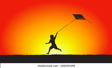 A little boy runs along the lawn launching a kite, sunset. Vector concept illustration, hand drawn sketch.