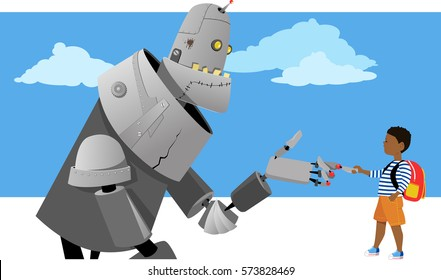 Little boy shaking hands with a giant robot, EPS 8 vector illustration