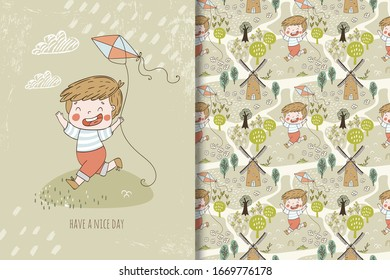 Little boy in shirt and shorts playing with kite in the village. Childhood card template and seamless background pattern. Hand drawn surface print design vector illustration.