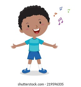 Little boy singing. Cheerful boy singing happily.