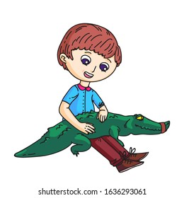 Little boy sitting and holding green crocodile on knees. Smiling kid petting alligator. Brave child character isolated on white. Predator with knitted mouth. Zoo, circus animal. Vector illustration