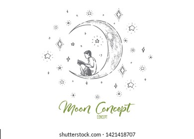 Little boy sitting on crescent, preschool child reading fantasy book on moon, night sky with shiny stars. Childhood dream, creative imagination concept sketch. Hand drawn vector illustration