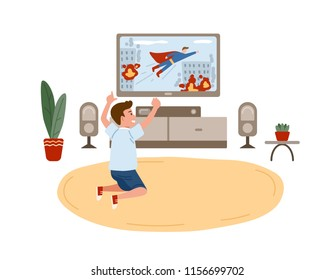 Little boy sitting on floor and watching superhero movie, action film or television channel for children on TV set. Home entertainment for kids. Colorful vector illustration in flat cartoon style