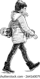 little boy with a skateboard