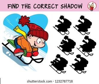 Little boy sledding down the hill. Find the correct shadow. Educational matching game for children. Cartoon vector illustration