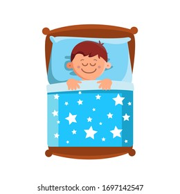 Little Boy Sleeping In Bed, Sweet Dreams Vector. Character Happy Smiling Small Child Lying In Comfortable Bed On Pillow And Covered With Blanket. Schoolboy Bedding Flat Cartoon Illustration