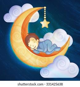 Little boy sleeping on the moon