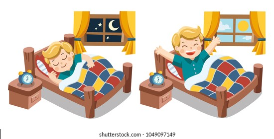 A Little boy sleeping on tonight dreams and he wake up in the morning. Isolated vector