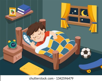 A Little boy sleeping on tonight dreams, good night and sweet dreams. Isolated vector.