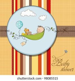 little boy sleeping in a pea been, baby shower card
