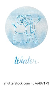 The little boy and snowman making a self portait . Winter poster with watercolor background.