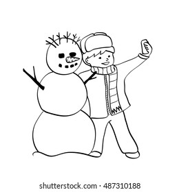 The little boy and snowman making a self portait . Outline vector illustration.