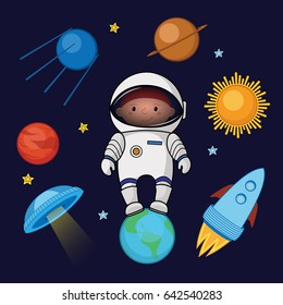 Little boy spaceman in space, rocket, satellite, UFO, planets and stars, cartoon vector illustration isolated on dark background. Little boy, kid spaceman in space, shuttle, satellite, planets, stars